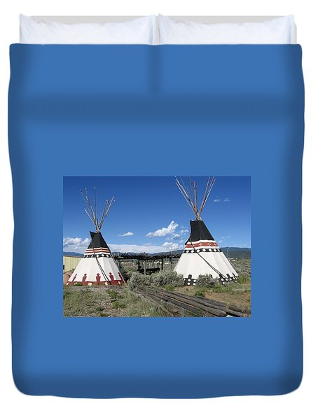 Duvet Cover featuring the photograph Native American Teepees by Dora Sofia Caputo Photographic Art and Design