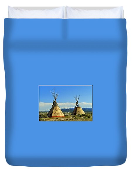 Native American Teepees  Duvet Cover by Dora Sofia Caputo Photographic Art and Design