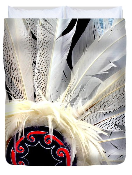 Native American White Feathers Headdress Duvet Cover by Dora Sofia Caputo Photographic Art and Design