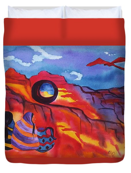 Native Women At Window Rock Duvet Cover