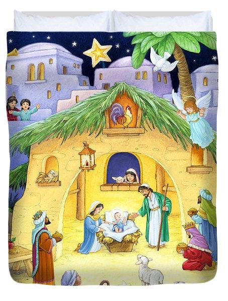 Nativity For Children Duvet Cover