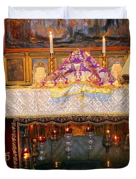 Nativity Grotto Duvet Cover