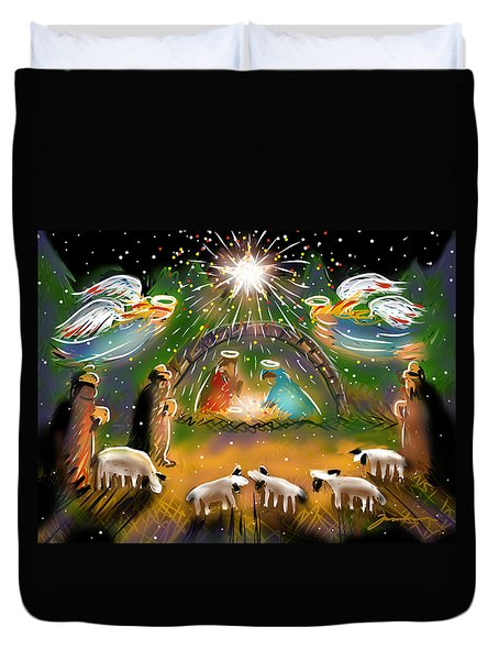 Duvet Cover featuring the painting Nativity by Jean Pacheco Ravinski