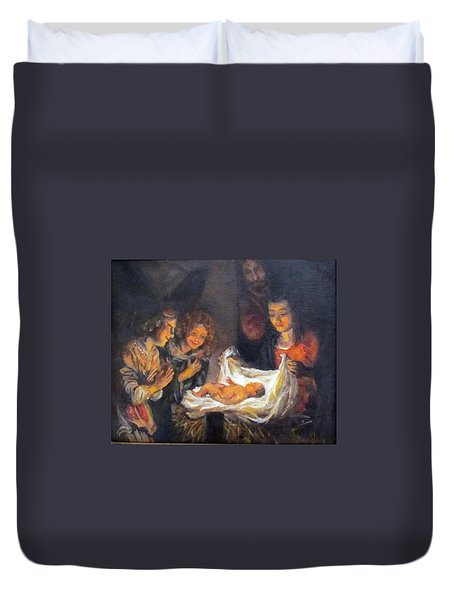 Duvet Cover featuring the painting Nativity Scene Study by Donna Tucker
