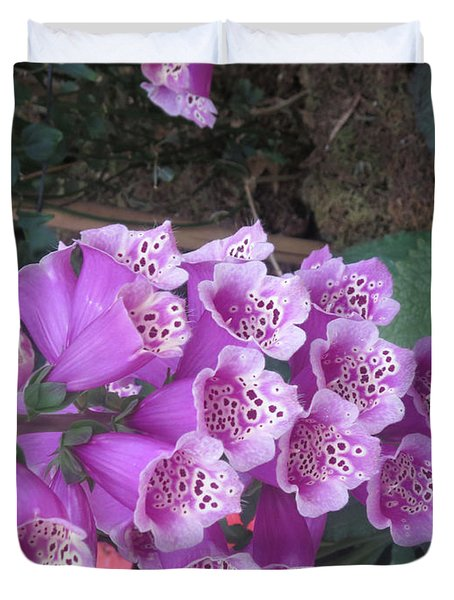 Natural Bouquet Bunch Of Spiritul Purple Flowers Duvet Cover by Navin Joshi
