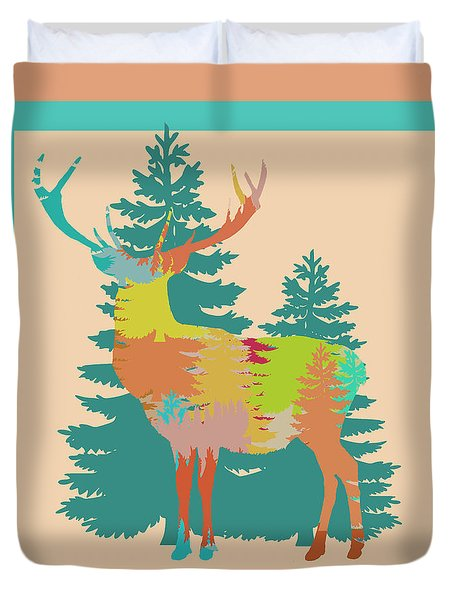 Duvet Cover featuring the photograph Nature Stag In Pink by Suzanne Powers