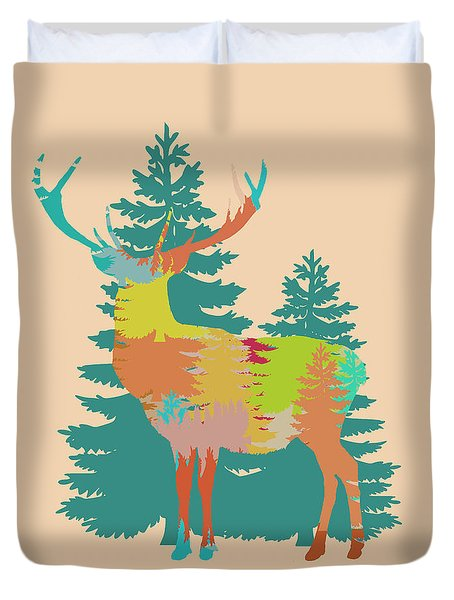 Duvet Cover featuring the photograph Nature Stag In Pink Without Frame by Suzanne Powers