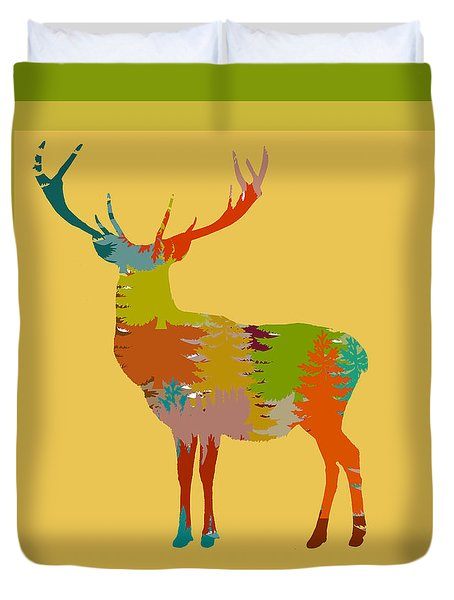 Duvet Cover featuring the photograph Nature Stag With Border by Suzanne Powers