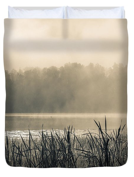 Nature's Beauties - Spiderwebs Birds And Mist Duvet Cover