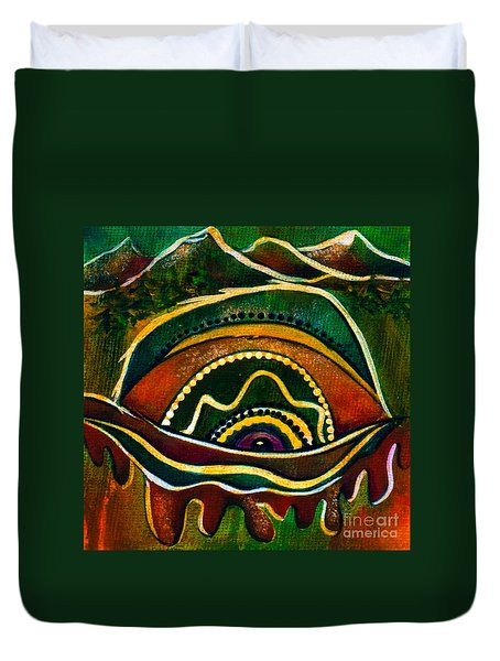 Duvet Cover featuring the painting Nature's Child Spirit Eye by Deborha Kerr