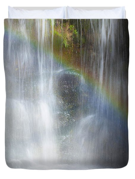 Duvet Cover featuring the photograph Natures Rainbow Falls by Jerry Cowart