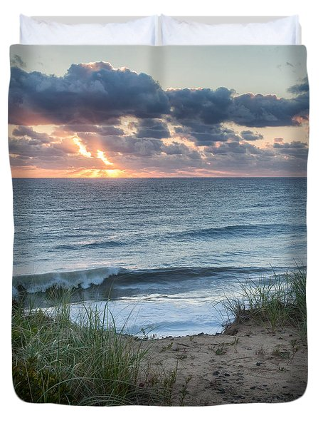 Nauset Light Beach Sunrise Square Duvet Cover