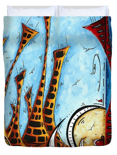 Nautical Coastal Art Original Contemporary Cityscape Painting City By The Bay By Madart Duvet Cover by Megan Duncanson