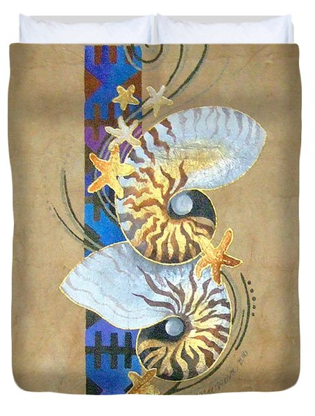 Nautilus And Blue Masi Duvet Cover