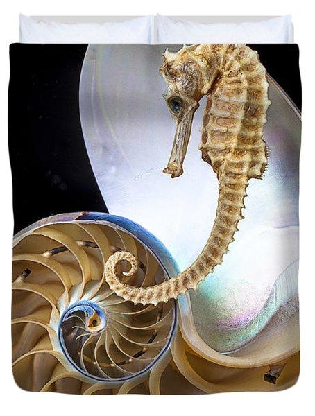 Nautilus With Seahorse Duvet Cover