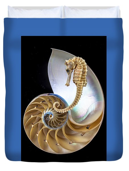 Nautilus With Seahorse Duvet Cover by Garry Gay