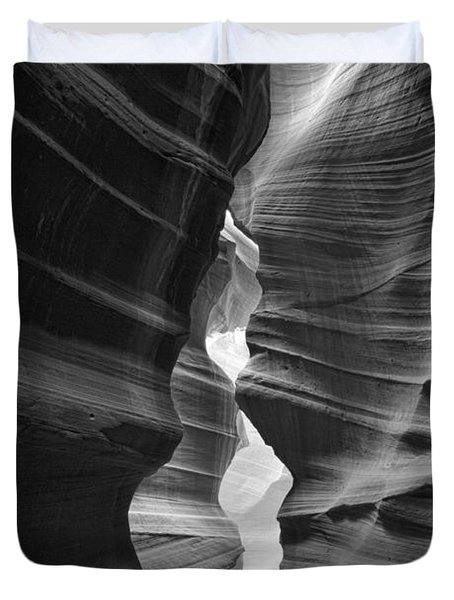 Antelope Canyon Black And White Duvet Cover