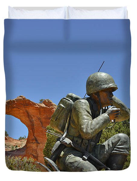 Navajo Code Talker - Window Rock Az Duvet Cover by Christine Till