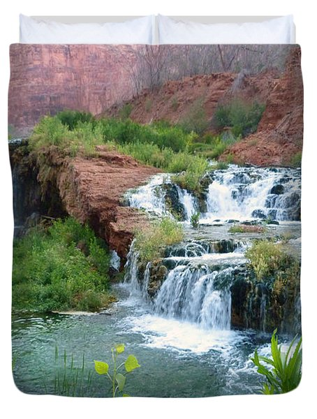 Duvet Cover featuring the photograph Navajo Falls by Alan Socolik