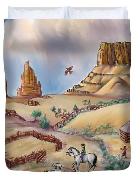 Navajo Sheepherder - Age 11 Duvet Cover by Dawn Senior-Trask