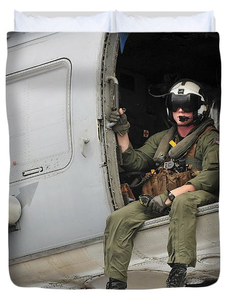 Naval Aircrewman Acts In An Sh-60b Sea Duvet Cover by Stocktrek Images