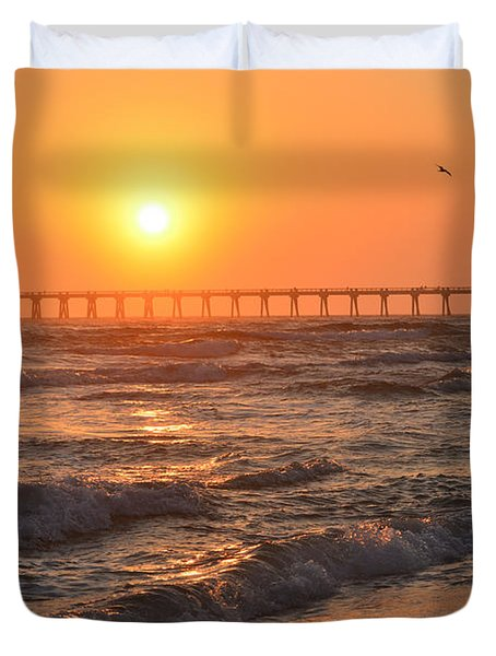 Navarre Beach And Pier Sunset Colors With Birds And Waves Duvet Cover