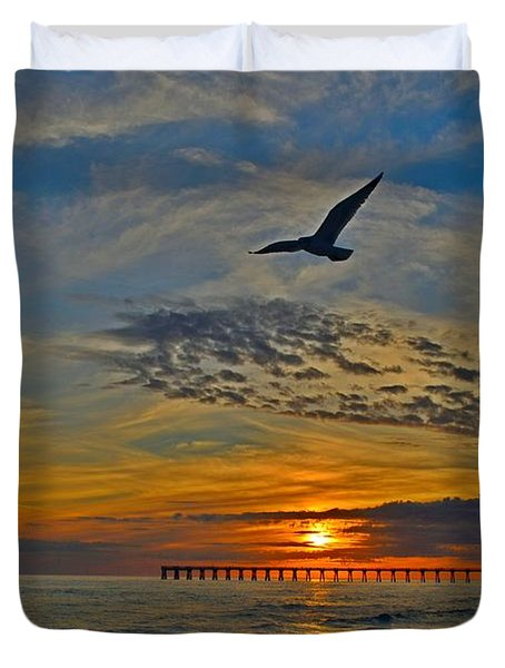 Duvet Cover featuring the photograph Navarre Beach And Pier Sunset Colors With Gulls And Waves by Jeff at JSJ Photography