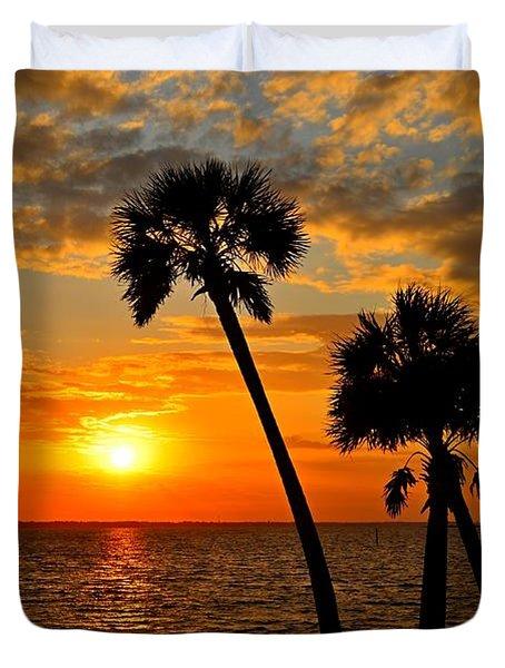 Navarre Beach Bridge Sunrise Palms Duvet Cover by Jeff at JSJ Photography