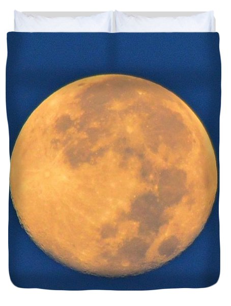 Duvet Cover featuring the photograph Navarre Beach Full Moon At Sunrise by Jeff at JSJ Photography