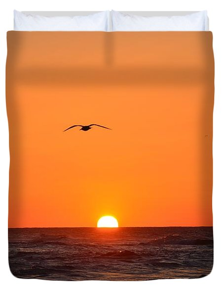 Duvet Cover featuring the photograph Navarre Beach Sunrise Waves And Bird by Jeff at JSJ Photography