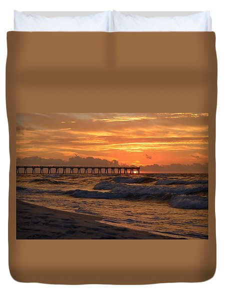 Navarre Pier At Sunrise With Waves Duvet Cover
