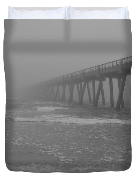 Navarre Pier Disappears In The Bw Fog Duvet Cover
