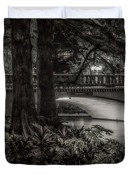 Duvet Cover featuring the photograph Navarro Street Bridge At Night by Steven Sparks