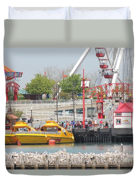 Duvet Cover featuring the photograph Navy Pier Chicago by The Art of Alice Terrill