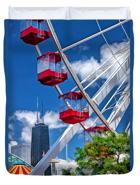 Navy Pier Ferris Wheel Duvet Cover