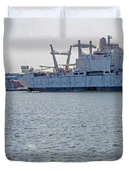 Navy Shipyard Duvet Cover