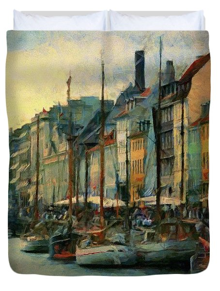 Duvet Cover featuring the painting Nayhavn Street by Jeff Kolker