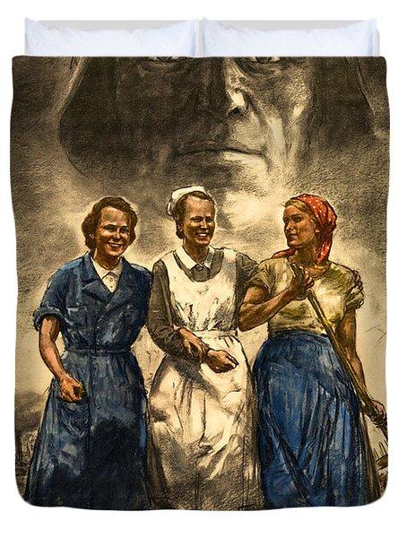 Nazi War Propaganda Poster Duvet Cover by Daniel Hagerman