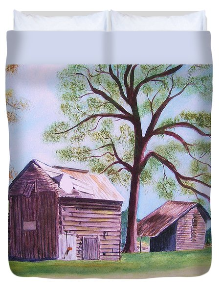 Nc Tobacco Barns Duvet Cover