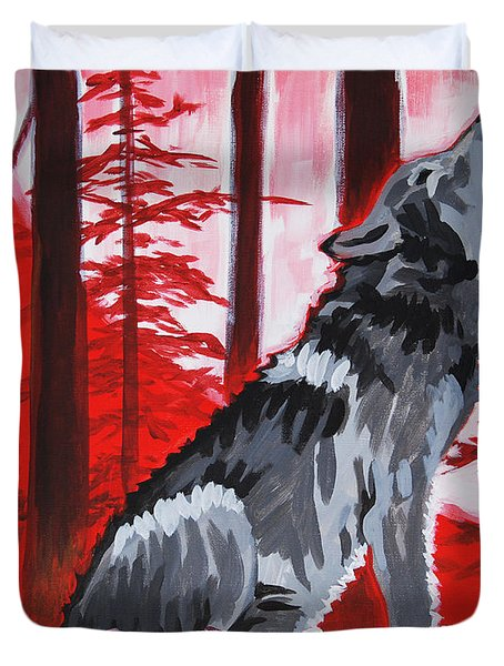 Wolf With Red Sky Duvet Cover