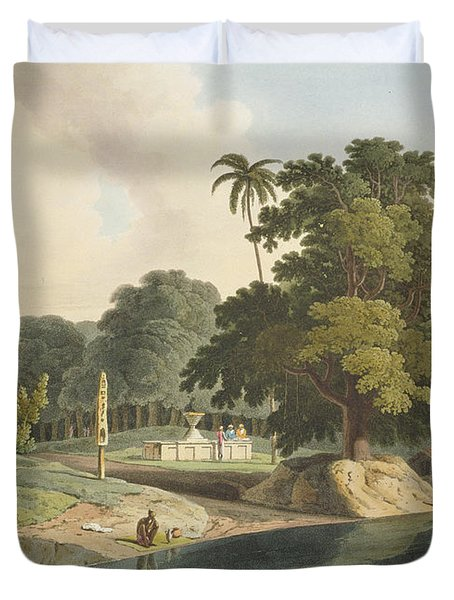 Near Bandell On The River Hoogly, Plate Duvet Cover by Thomas & William Daniell