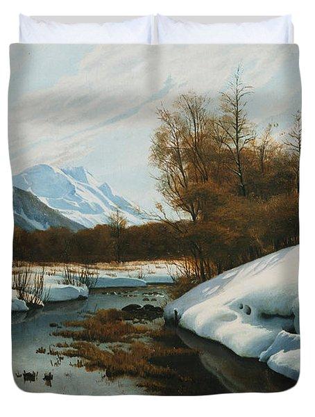 Near La Punt St Morritz In The Engadine Valley Duvet Cover by Peder Monsted