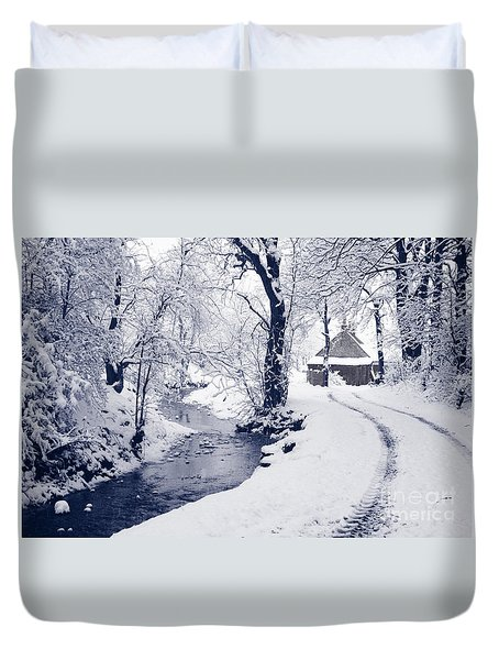 Duvet Cover featuring the photograph Nearly Home by Liz Leyden