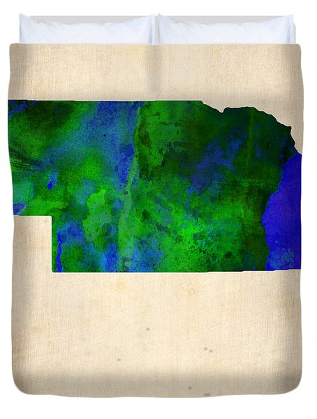 Nebraska Watercolor Map Duvet Cover by Naxart Studio