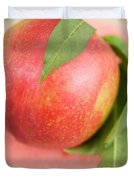 Nectarine With Leaves On Slice Of Watermelon Duvet Cover