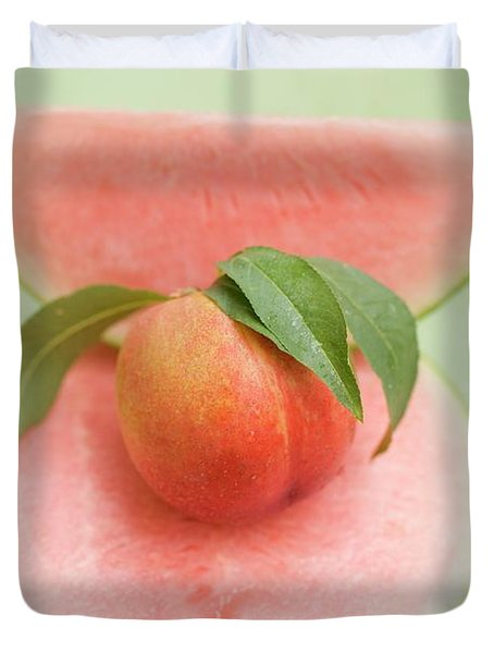 Nectarine With Leaves, Slice And Wedge Of Watermelon Duvet Cover
