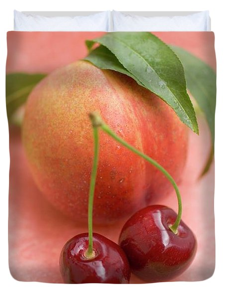 Nectarine With Leaves, Watermelon And Cherries Duvet Cover