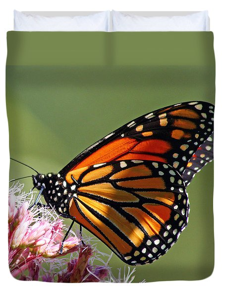 Duvet Cover featuring the photograph Nectaring Monarch Butterfly by Debbie Oppermann