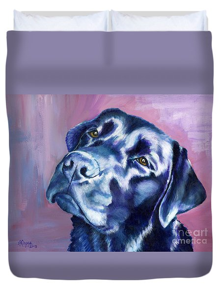 Need Help With That? Black Lab Duvet Cover