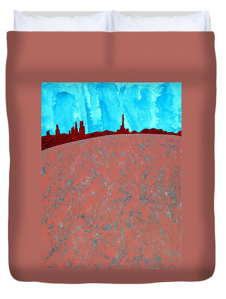 Needles And Dunes Original Painting Duvet Cover by Sol Luckman